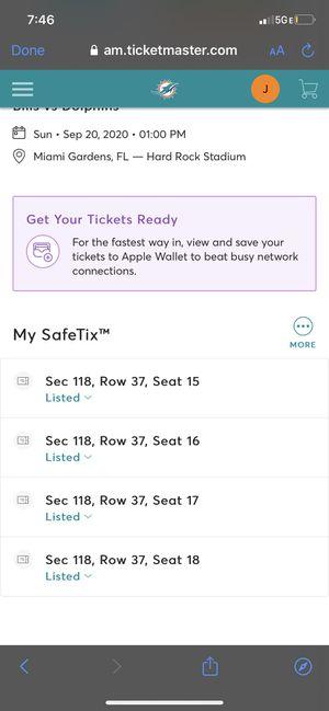Dolphins Va Bills Tickets for Sale in Sunrise, FL