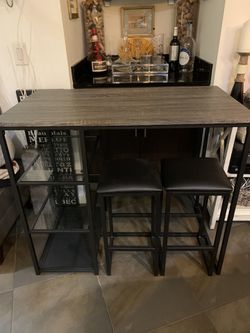 Table Or Desk With Glass Shelves And 2 Benches for Sale in Oakland Park, FL