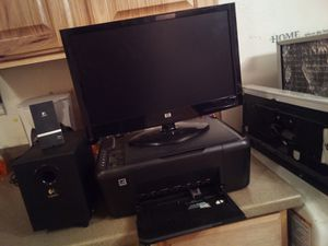 Hp monitor ,ho printer copier scanner , and a logistic subwoofer for Sale in Billings, MT