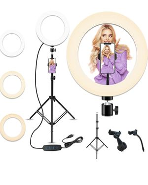 10'' Selfie Ring Light with 28.1'' to 83.8'' Extendable Tripod Stand,Peteme LED Ring Light with Phone Holder for Live Streaming/Makeup/YouTube Video/ for Sale in Colonial Heights, VA