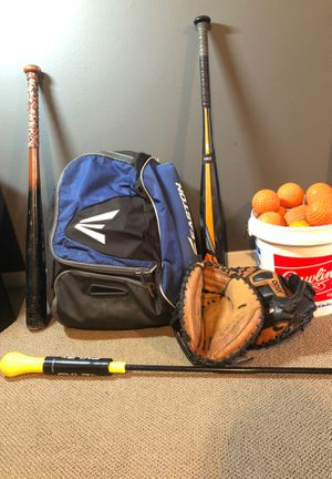 Easton bag and bat, dimple balls, 2 Wilson A500 catchers gloves, skilz swing trainer & bamboo bat for Sale in Edmonds, WA