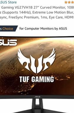 """Asus TUF Gaming Monitor VG27VH1B 27"""" for Sale in Rancho Cucamonga,  CA"""