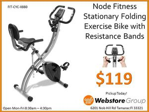 Stationary Folding Bike with resistance bands, digital readout and back rest - NEW for Sale in Sunrise, FL
