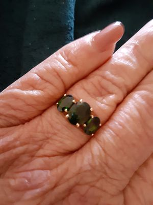 Russian Chrome Diopside 3-Stone Ring for Sale in Oak Forest, IL