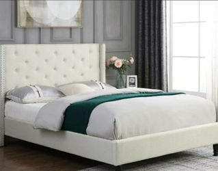 "New (MCH) Modern Design 51"" Tall Beige Linen Tufted Wing-back Bed (Full Size Frame) for Sale in Los Angeles,  CA"