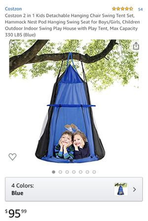 Costzon 2 in 1 Kids Detachable Hanging Chair Swing Tent Set, Hammock Nest Pod Hanging Swing Seat for Boys/Girls, Children Outdoor Indoor Swing Play H for Sale in Birmingham, AL