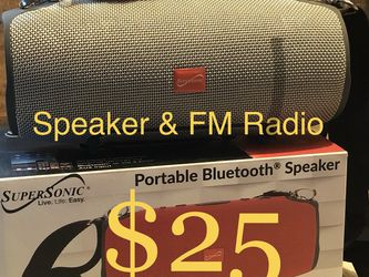 SuperSonic Bluetooth Wireless Rechargeable Speaker With Fm Radio Included for Sale in Montebello,  CA