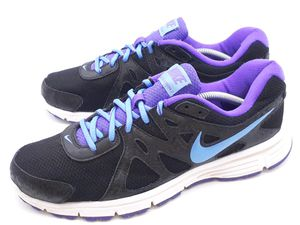 Nike Revolution 2 Athletic Running Shoes Black Purple 554900-023 Womens Size 11 for Sale in Hayward, CA