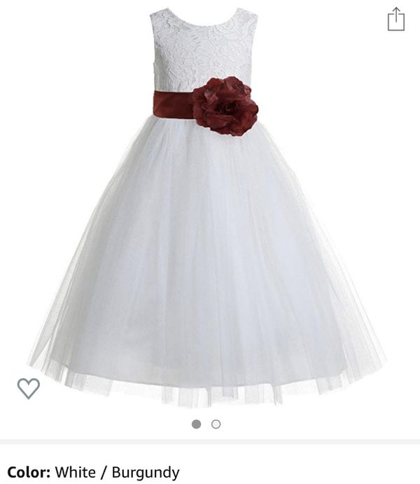 White Flower Girl Dress (w/Burgundy Flower & Bow) - Size 4T/5T