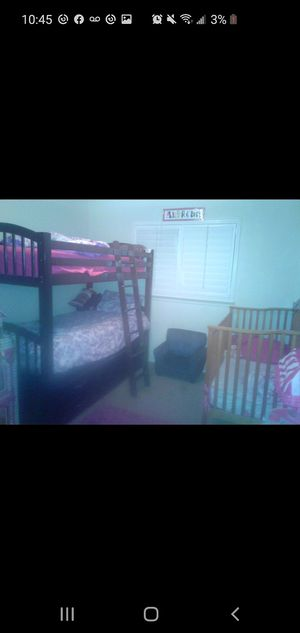 Wood bunk beds with trendal under for Sale in Fresno, CA