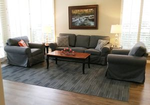 Full living room set. Sofa, chairs, rug, end tables, lamps, pillows and art for Sale in Gilbert, AZ