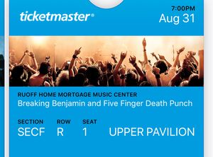 2 tickets Breaking Benjamin and Five Finger Death Punch for Sale in Fort Wayne, IN