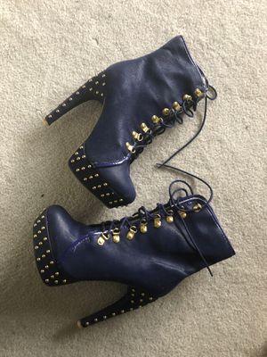 Fahrenheit blue studded 8.5 boot heel stilettos for Sale in Littleton, CO