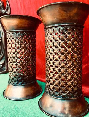 2 beautiful candle holders, decorative metal art, H9xW5 inch (candles not included) for Sale in Chandler, AZ