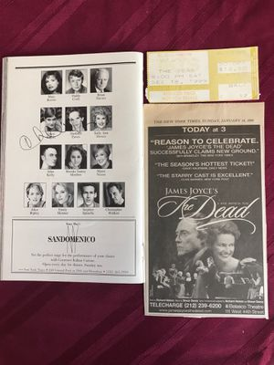 James Joyce's the dead musical playbill with autographed by Daisy Eagan theater ticket and newspaper article for Sale for sale  West Palm Beach, FL