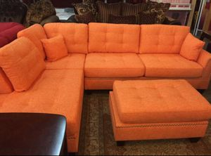 Brand New Citrus Color Linen Sectional Sofa Couch + Ottoman for Sale in Silver Spring, MD