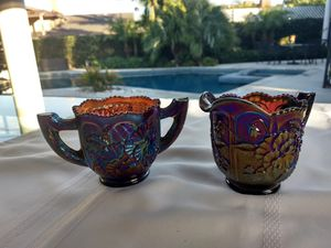 Carnival glass - sugar bowl and creamer for Sale in Hacienda Heights, CA