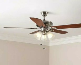 Hampton Bay Glendale 52 in. LED Indoor Brushed Nickel Ceiling Fan with Light Kit for Sale in Miami,  FL