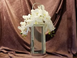 Polished Silver Hanging Lantern with Real Touch Orchids for Sale in Los Angeles, CA