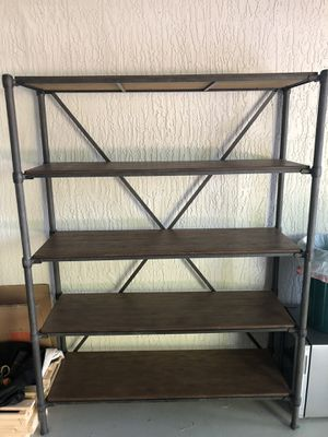 Metal and wood shelf / book case / storage for Sale in Miami, FL