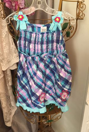Little girls cotton spring dress sz3 so cute blue& pink plaid polka dot hem & adorable bows with a flower on the straps designer euc for Sale in Northfield, OH