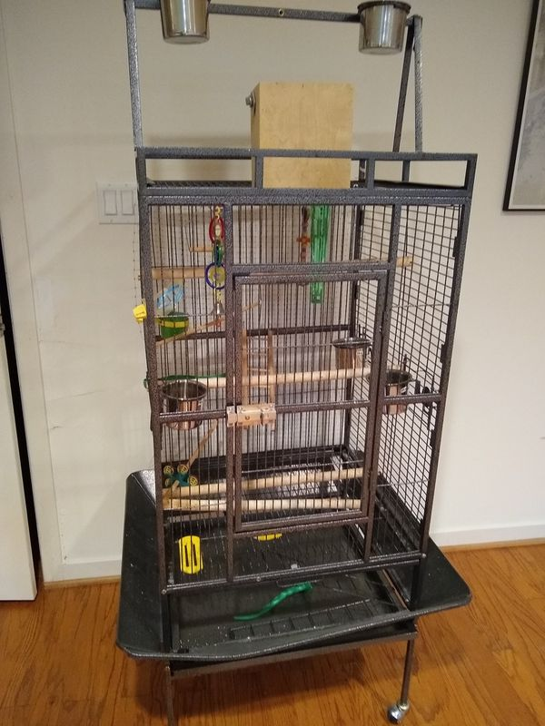 Black metal pet cage with everything