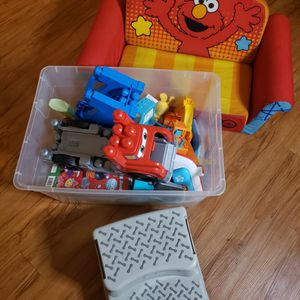 Toy Box, Sesame Street Chair and Steeping Stool for Sale in Downey, CA