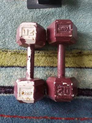 2 20 Pound vintage York DUMBELLS. $80 firm. Pickup in Oakdale for Sale in Oakdale, CA
