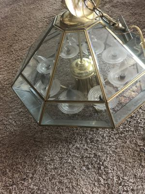 Glass and brass chandelier for Sale in Caledonia, MI