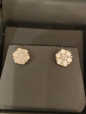 14k yellow gold diamond earrings for Sale in Porter, TX