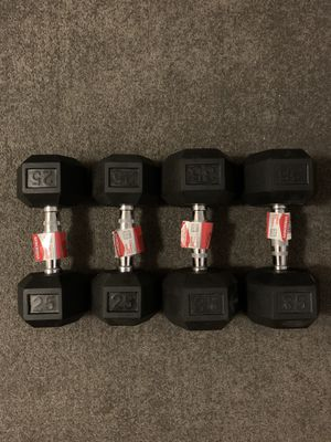 2 Sets of Rubber Hex Dumbbells (25 and 35 LBS) - BRAND NEW for Sale in Arlington, VA