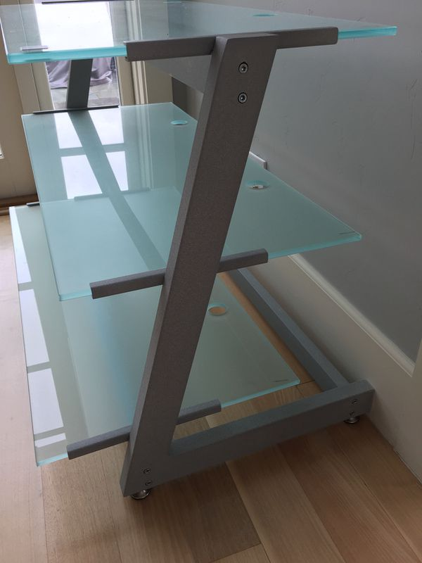 Frosted glass TV stand