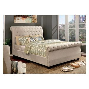 LIGHT GRAY FULL or QUEEN UPHOLSTERED BED FRAME for Sale in Turlock, CA