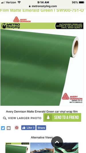 Avery matte emerald green vinyl wrap for Sale in Edgewood, WA