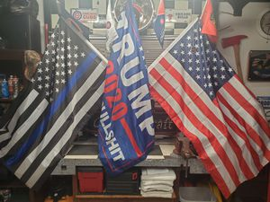 Vehicle hitch triple flagpole support the police. American Flag and trump 2020 NO MORE BULLSHIT for Sale in Morton Grove, IL