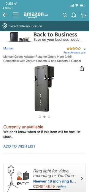 GoPro gimbal adapter plate for Sale in Miami, FL