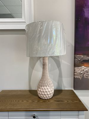 "Adorable blush pink 27"" x 14"" table lamp. Retails $103. Asking $48 + tax for Sale in Woodstock, GA"