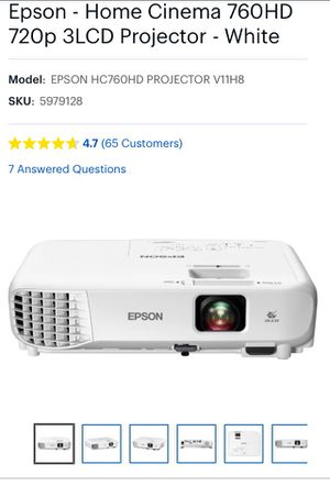 Epson Projector/Home Theater 760HD for Sale in Leesburg, VA