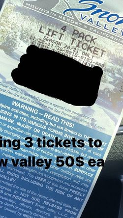 Snowboard Tickets for Sale in Los Angeles,  CA