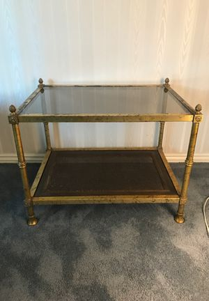Antique end table, gold metal frame. for Sale in Anaheim, CA