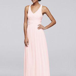 David's Bridal Bridesmaid Petal Pink V-NECKLINE LONG CRISSCROSS BACK BRIDESMAID DRESS Size 6 for Sale in Peoria, AZ