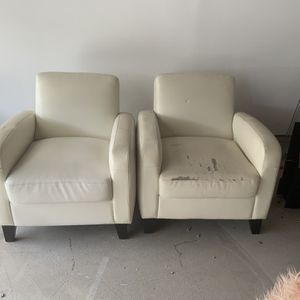 FREE—White Arm Chairs X2-Leatherette for Sale in Burbank, CA