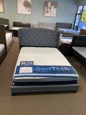 Queen size platform bed frame with 11 inch BedTech Hybrid Mattress included for Sale in Glendale, AZ