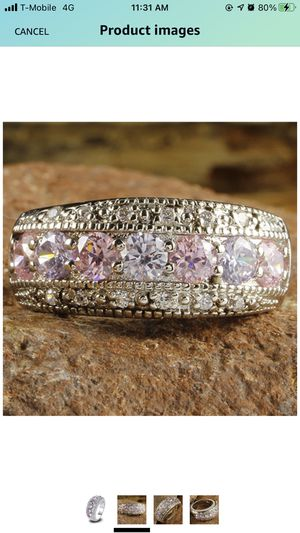 Gorgeous 925 Silver & Pink Wedding Ring White Sapphire Rings Sz 8 for Sale in Stockton, CA