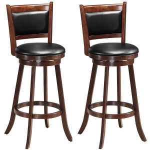 Set of 2 29'' Swivel Bar Height Stool Wood Dining Chair Upholstered Seat for Sale in Walnut, CA