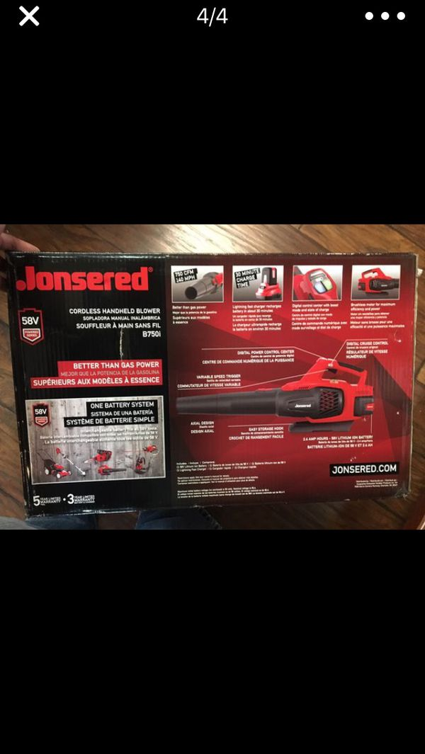 Leaf Blower 58V Rechargeable Jonsered Brand NeW - Last One!
