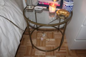 Gold and glass bedside table for Sale in New York, NY