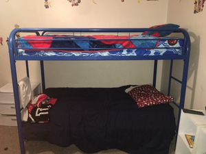 2 Metal frame bunk bed set blue in great condition and one wooden frame from a smoke free home for Sale in Lehigh Acres, FL