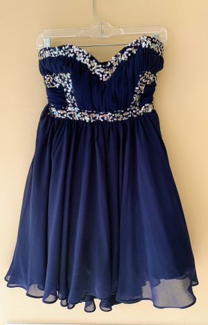 Like new girls navy homecoming prom dance sequin strapless dress sz 7/S for Sale in Bellevue, WA
