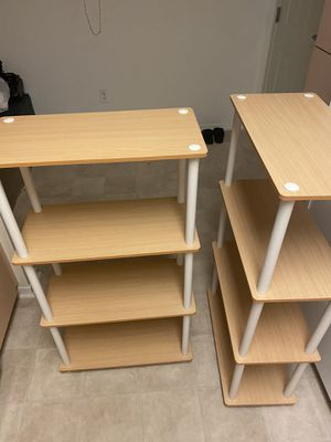 2 Beech/White plastic 4-shelf bookcases for Sale in San Diego, CA